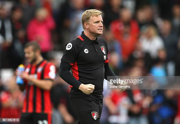 Eddie Howe Manager of AFC Bournemouth celebrates his side win after the game during the Premier League match between AFC Bournemouth and West...