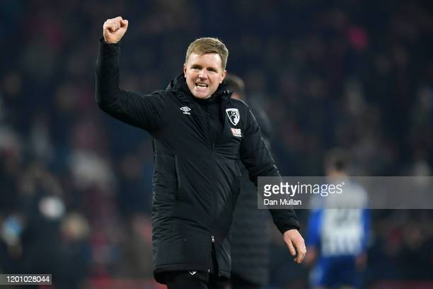 Eddie Howe, Manager of AFC Bournemouth celebrates victory after the Premier League match between AFC Bournemouth and Brighton & Hove Albion at...