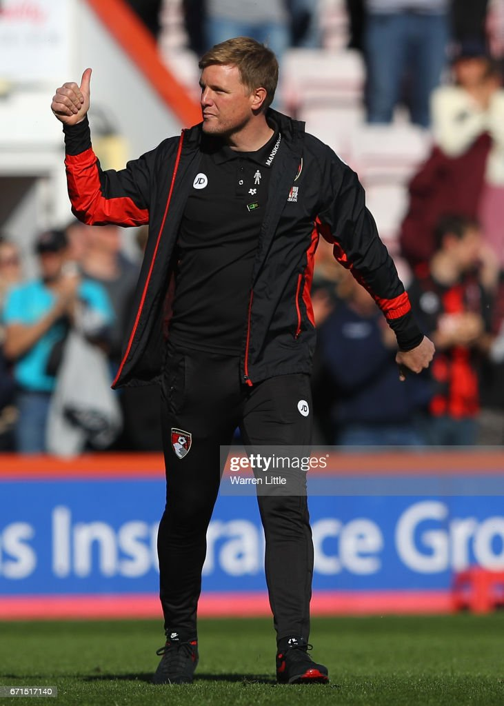 Eddie Howe, Manager of AFC Bournemouth celebrates victory during the Premier League match between AFC Bournemouth and Middlesbrough at the Vitality Stadium on April 22, 2017 in Bournemouth, England.