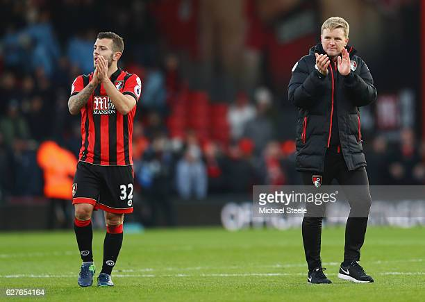 Eddie Howe manager of AFC Bournemouth celebrates victory with Jack Wilshere of AFC Bournemouth after the Premier League match between AFC Bournemouth...