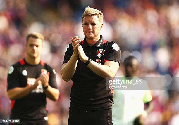 Eddie Howe Manager of AFC Bournemouth claps the AFC Bournemouth fans after the final whistle during the Premier League match between Crystal Palace...