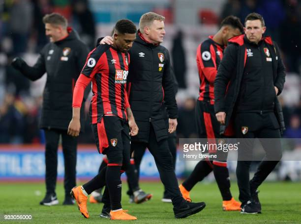 Eddie Howe Manager of AFC Bournemouth embraces Jordon Ibe following the Premier League match between AFC Bournemouth and West Bromwich Albion at...