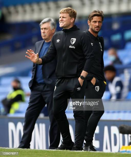 Eddie Howe Manager of AFC Bournemouth gestures during the Premier League match between Everton FC and AFC Bournemouth at Goodison Park on July 26...