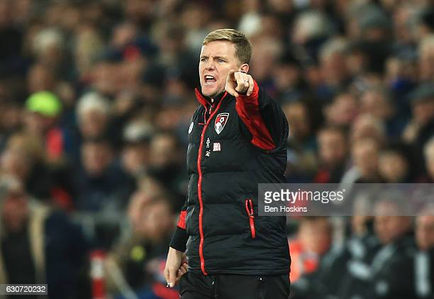 Eddie Howe Manager of AFC Bournemouth gestures during the Premier League match between Swansea City and AFC Bournemouth at Liberty Stadium on...