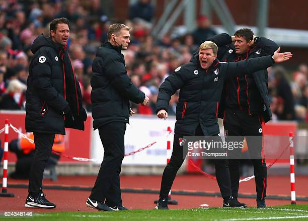 Eddie Howe Manager of AFC Bournemouth gives his team instructions during the Premier League match between Stoke City and AFC Bournemouth at Bet365...