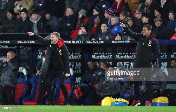 Eddie Howe Manager of AFC Bournemouth gives his team instructions along side Jason Tindall Assistant Manager during the Premier League match between...