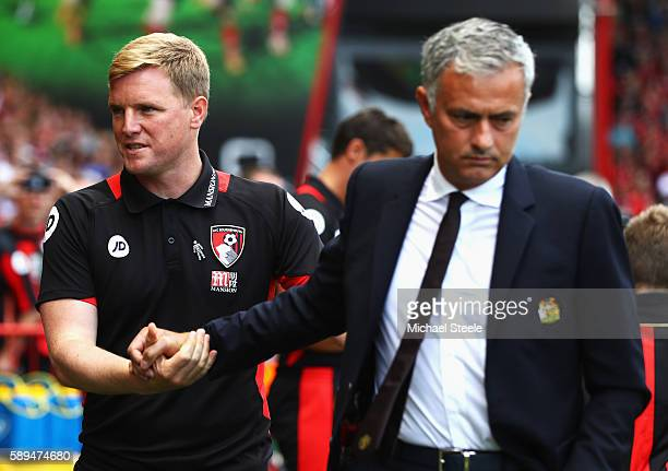 Eddie Howe Manager of AFC Bournemouth greets manager of Manchester United Jose Mourinho during the Premier League match between AFC Bournemouth and...