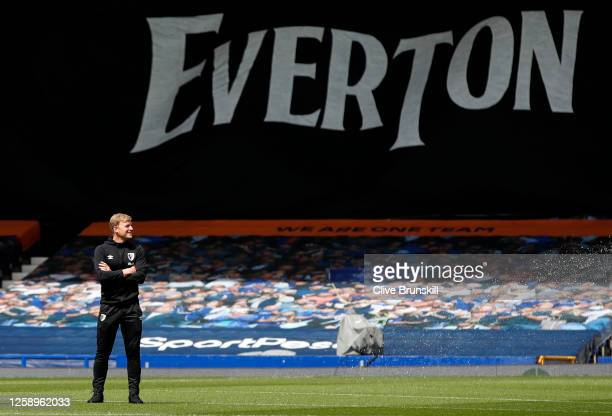 Eddie Howe Manager of AFC Bournemouth inspects the pitch prior to the Premier League match between Everton FC and AFC Bournemouth at Goodison Park on...