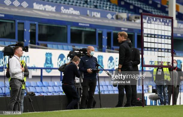 Eddie Howe Manager of AFC Bournemouth is interviewed during the Premier League match between Everton FC and AFC Bournemouth at Goodison Park on July...