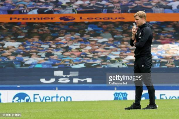 Eddie Howe Manager of AFC Bournemouth looks dejected after being relegated during the Premier League match between Everton FC and AFC Bournemouth at...