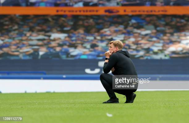 Eddie Howe Manager of AFC Bournemouth looks dejected after the Premier League match between Everton FC and AFC Bournemouth at Goodison Park on July...