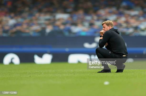 Eddie Howe, Manager of AFC Bournemouth looks dejected at full-time after AFC Bournemouth are relegated from the Premier League after the Premier...