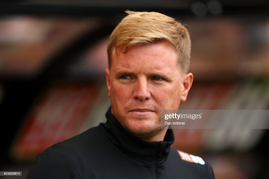 Eddie Howe, manager of AFC Bournemouth looks on before the pre-season friendly match between AFC Bournemouth and Valencia CF at Vitality Stadium on July 30, 2017 in Bournemouth, England.
