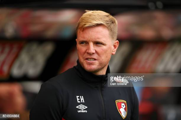 Eddie Howe manager of AFC Bournemouth looks on before the preseason friendly match between AFC Bournemouth and Valencia CF at Vitality Stadium on...