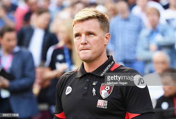 Eddie Howe Manager of AFC Bournemouth looks on during the Premier League match between West Ham United and AFC Bournemouth at London Stadium on...