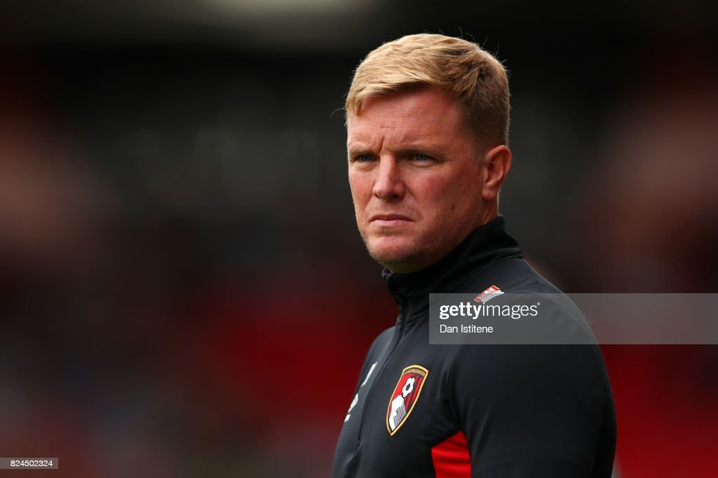 Eddie Howe, manager of AFC Bournemouth looks on from the touchline during the pre-season friendly match between AFC Bournemouth and Valencia CF at Vitality Stadium on July 30, 2017 in Bournemouth, England.