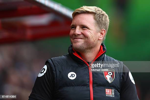 Eddie Howe Manager of AFC Bournemouth looks on prior to kick off during the Premier League match between AFC Bournemouth and Hull City at Vitality...