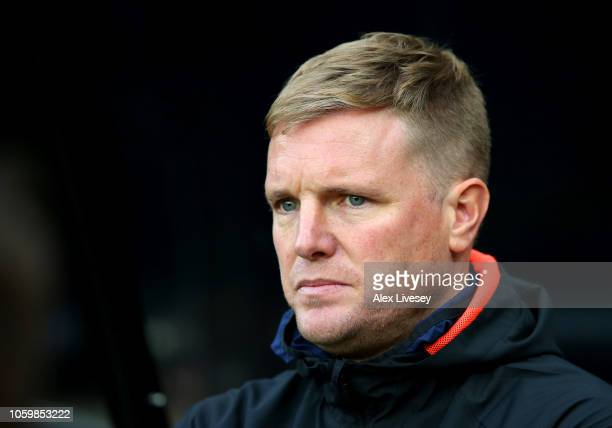 Eddie Howe Manager of AFC Bournemouth looks on prior to the Premier League match between Newcastle United and AFC Bournemouth at St James Park on...