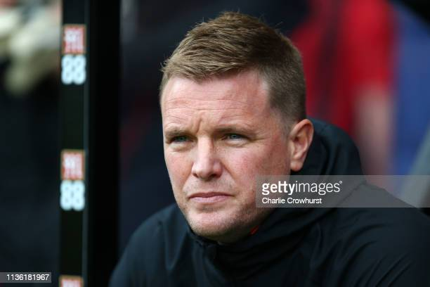 Eddie Howe Manager of AFC Bournemouth looks on prior to the Premier League match between AFC Bournemouth and Newcastle United at Vitality Stadium on...