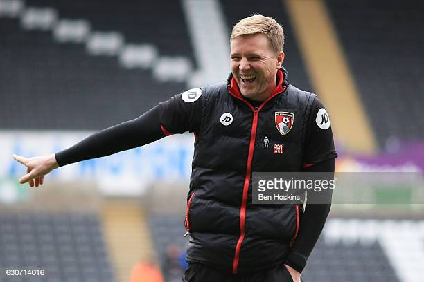 Eddie Howe Manager of AFC Bournemouth looks on prior to the Premier League match between Swansea City and AFC Bournemouth at Liberty Stadium on...