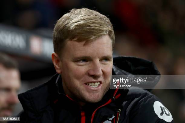 Eddie Howe Manager of AFC Bournemouth looks on prior to the Premier League match between AFC Bournemouth and Crystal Palace at Vitality Stadium on...