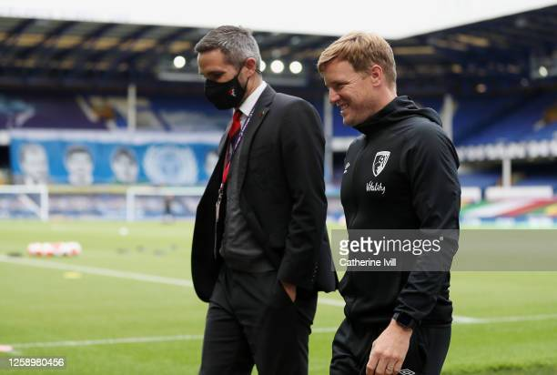 Eddie Howe Manager of AFC Bournemouth prior to the Premier League match between Everton FC and AFC Bournemouth at Goodison Park on July 26 2020 in...