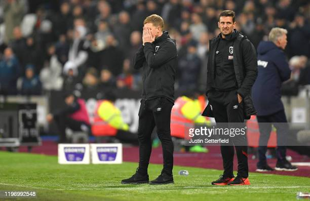 Eddie Howe, Manager of AFC Bournemouth reacts during the Premier League match between West Ham United and AFC Bournemouth at London Stadium on...