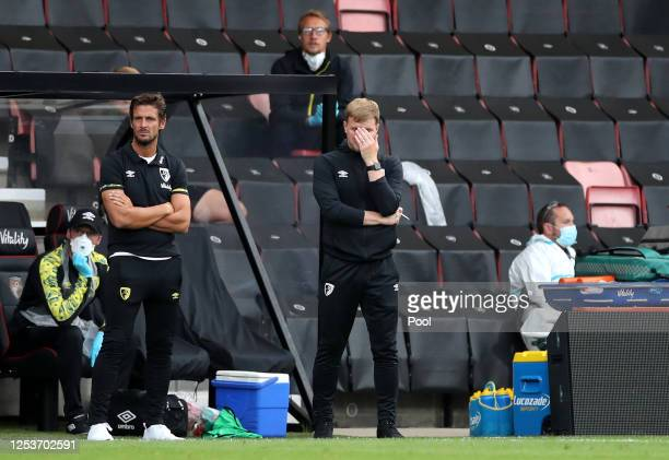 Eddie Howe, Manager of AFC Bournemouth reacts during the Premier League match between AFC Bournemouth and Newcastle United at Vitality Stadium on...