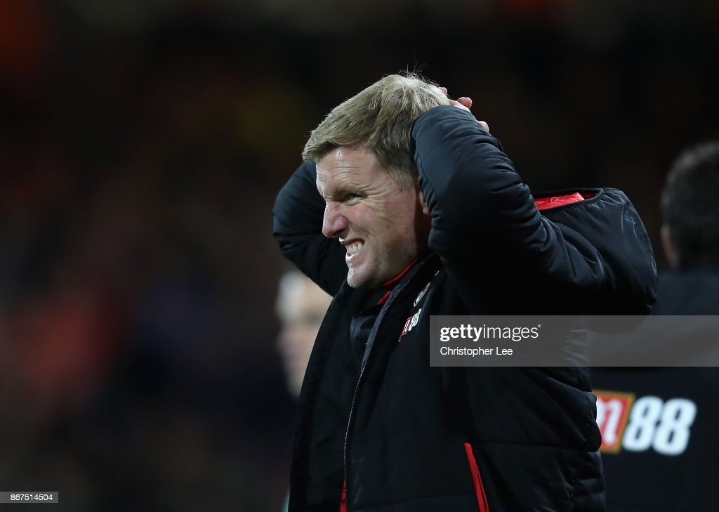 Eddie Howe, Manager of AFC Bournemouth reacts during the Premier League match between AFC Bournemouth and Chelsea at Vitality Stadium on October 28, 2017 in Bournemouth, England.