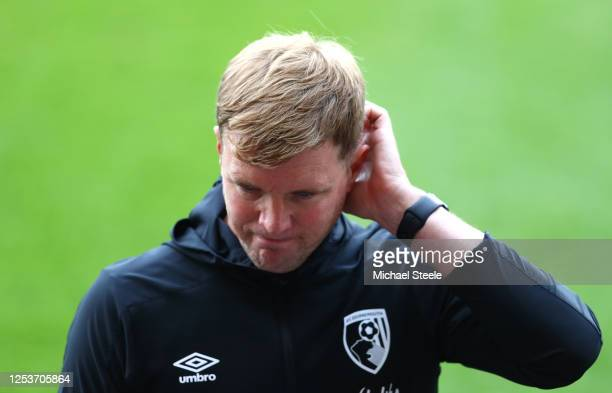 Eddie Howe, Manager of AFC Bournemouth reacts following the Premier League match between AFC Bournemouth and Newcastle United at Vitality Stadium on...