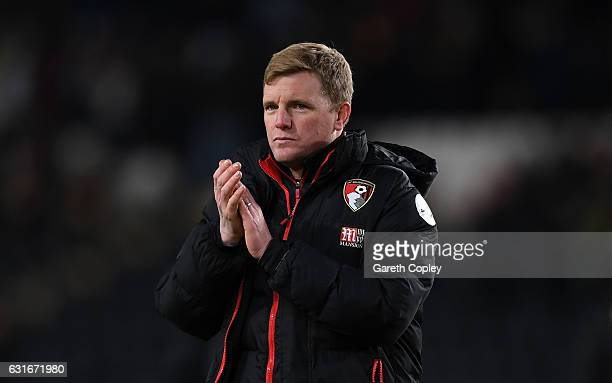 Eddie Howe Manager of AFC Bournemouth shows appreciation to the fans after the Premier League match between Hull City and AFC Bournemouth at KCOM...