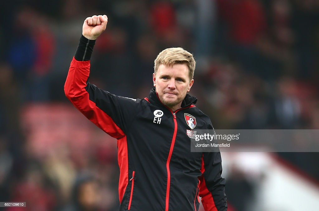 Eddie Howe, Manager of AFC Bournemouth shows appreciation to the fans after the Premier League match between AFC Bournemouth and West Ham United at Vitality Stadium on March 11, 2017 in Bournemouth, England.
