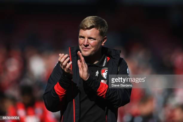 Eddie Howe Manager of AFC Bournemouth shows appreciation to the fans after the Premier League match between AFC Bournemouth and Burnley at Vitality...