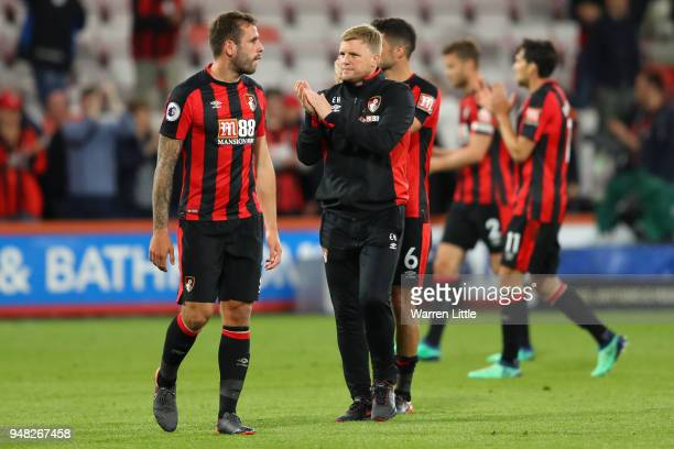 Eddie Howe Manager of AFC Bournemouth shows appreciation to the fans after the Premier League match between AFC Bournemouth and Manchester United at...