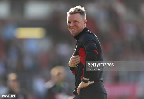 Eddie Howe Manager of AFC Bournemouth shows appreciation to the fans during a lap of honour after the Premier League match between AFC Bournemouth...
