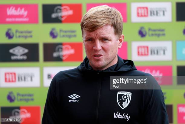 Eddie Howe, Manager of AFC Bournemouth speaks to the media ahead of the Premier League match between AFC Bournemouth and Southampton FC at Vitality...