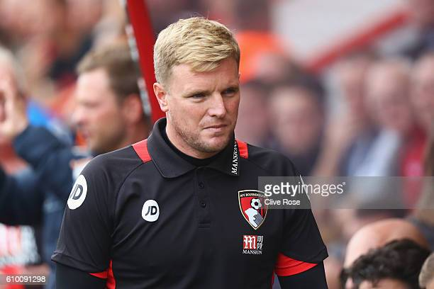 Eddie Howe Manager of AFC Bournemouth takes his seat on the bench during the Premier League match between AFC Bournemouth and Everton at the Vitality...