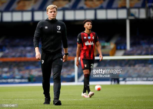 Eddie Howe Manager of AFC Bournemouth walks off dejected at the final whistle as it is confirmed Bournemouth are relegated from the Premier League...