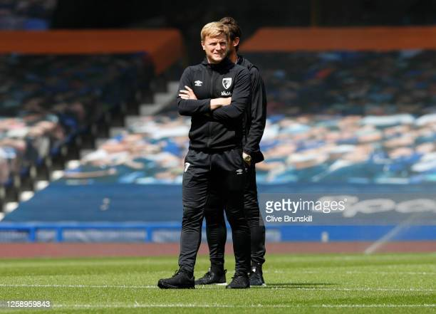 Eddie Howe Manager of AFC Bournemouth walks on the pitch prior to the Premier League match between Everton FC and AFC Bournemouth at Goodison Park on...