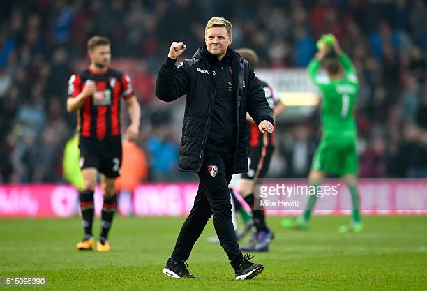 Eddie Howe Manager of Bournemouth applauds the supporters after the Barclays Premier League match between AFC Bournemouth and Swansea City at...