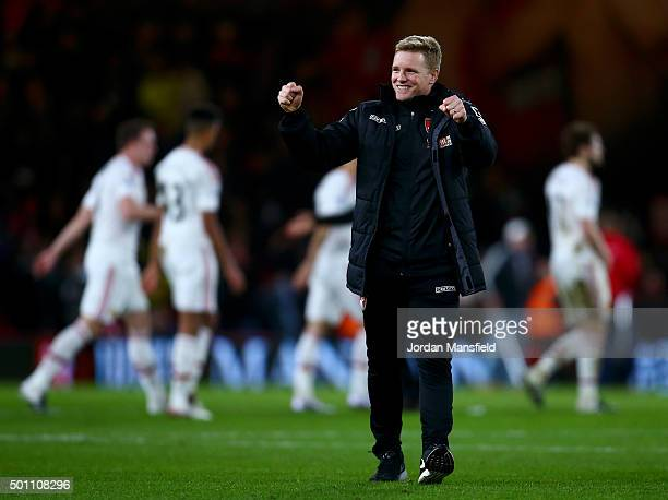 Eddie Howe Manager of Bournemouth celebrate his team's win in the Barclays Premier League match between AFC Bournemouth and Manchester United at...