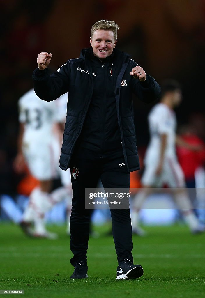 Eddie Howe, Manager of Bournemouth celebrates after the final whistle in the Barclays Premier League match between A.F.C. Bournemouth and Manchester United at Vitality Stadium on December 12, 2015 in Bournemouth, United Kingdom.
