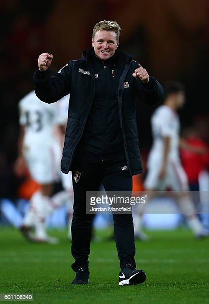 Eddie Howe Manager of Bournemouth celebrates after the final whistle in the Barclays Premier League match between AFC Bournemouth and Manchester...