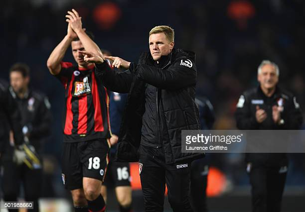 Eddie Howe Manager of Bournemouth celebrates his team's 21 win during the Barclays Premier League match between West Bromwich Albion and AFC...