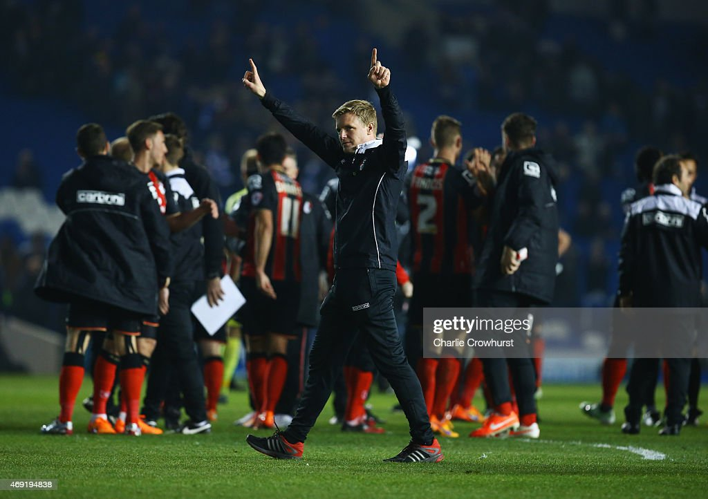 Eddie Howe manager of Bournemouth celebrates victory after the Sky Bet Championship match between Brighton & Hove Albion and AFC Bournemouth at Amex Stadium on April 10, 2015 in Brighton, England.