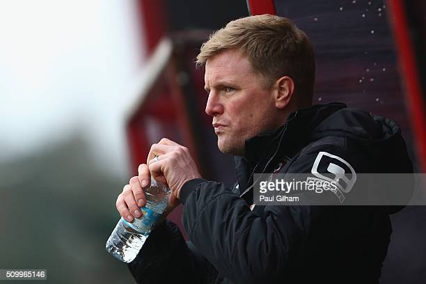 Eddie Howe Manager of Bournemouth drinks water during the Barclays Premier League match between AFC Bournemouth and Stoke City at Vitality Stadium on...