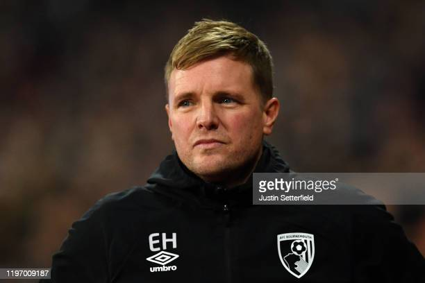 Eddie Howe, Manager of Bournemouth during the Premier League match between West Ham United and AFC Bournemouth at London Stadium on January 01, 2020...