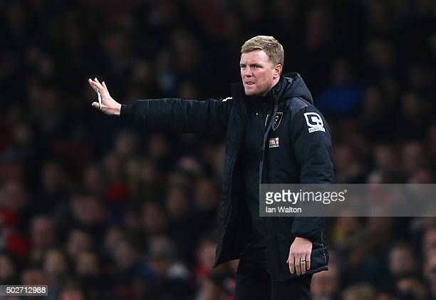 Eddie Howe Manager of Bournemouth gestures during the Barclays Premier League match between Arsenal and AFC Bournemouth at Emirates Stadium on...