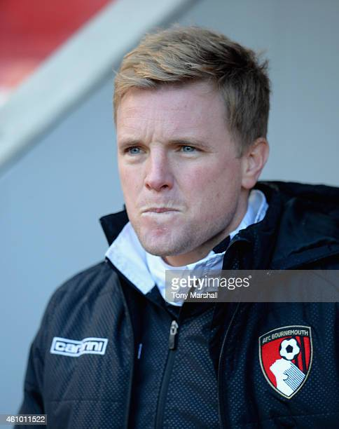Eddie Howe Manager of Bournemouth in the dugout during the FA Cup Third Round match between Rotherham United and Bournemouth at The New York Stadium...