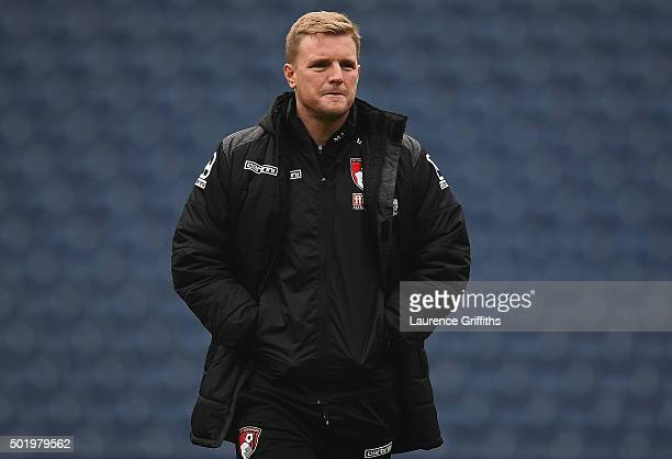 Eddie Howe Manager of Bournemouth is seen prior to the Barclays Premier League match between West Bromwich Albion and AFC Bournemouth at The...